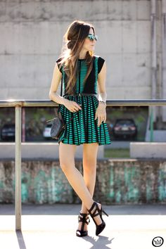 FashionCoolture - 10.06.2015 look du jour Displicent dress green and black outfit (1)