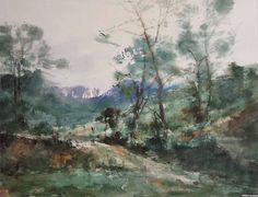 王辉林 / Wang Huilin (b. 1963, China) River. watercolor. 53 × 36 cm.