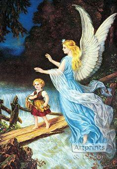 Guardian Angel - Heilige Schutzengel - Art Print