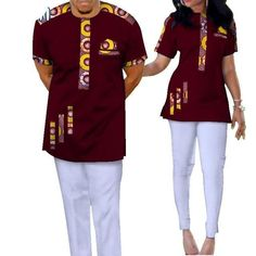 Bazin Riche African Couples Clothing Dashiki Print Patchwork Top-Pants Sets for Lovers African Wear Styles For Men, African Shirts For Men, African Attire For Men, African Clothing For Men, Traditional African Clothing, African Style, Couples African Outfits, African Dresses Men, African Fashion Skirts