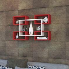 Półka naścienna Mikanos White Red