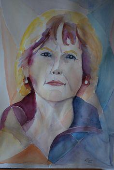 Módelo y la vidriera, Formato A2. Acuarela realizada por Conchi Moreno. #retrato #acuarela #mosaico