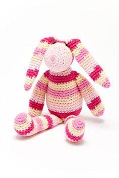 Hand Made, Cotton, Crochet Stripe Pink Bunny