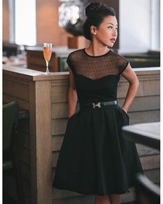 The Answer Is Sheer Top + Imperative Narrative Skirt = perfect #LBD. @extrapetite #modcloth