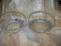 Vintage Hammered Aluminum Glass Insert Handled Baskets  Set of 2 Unmarked