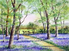 Ann's Watercolour Studio step by step bluebell demo