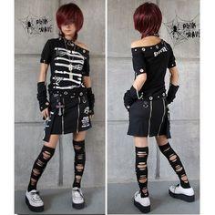 Black Skeleton Emo Punk Fashion T Shirts Tops+Arm Warmers Clothing Store SKU-11409111