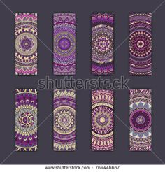 Banner card set with floral colorful decorative mandala elements background. Tribal,ethnic,Indian, Islam, Arabic, ottoman motifs.