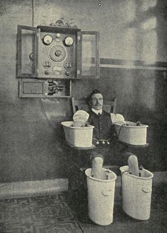 Schnee bath, from Edward Reginald Morton and Elkin Cumberbatchs Essentials of Medical Electricity (Third Edition), The Schnee Bath was used to treat rheumatic conditions, with a powerful but carefully managed electrical current. Old Pictures, Old Photos, Amazing Pictures, Rare Photos, Vintage Photographs, Vintage Photos, Nicola Tesla, Insane Asylum, Mental Asylum