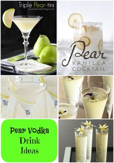 This may be my Fall/Winter go to :) Check out all the amazing and different Pear Vodka Drink ideas you can make! You can make everything form a pear-tini to a cosmo with Pear Vodka! Pear Drinks, Healthy Alcoholic Drinks, Fancy Drinks, Vodka Drinks, Cocktail Drinks, Yummy Drinks, Cocktail Recipes, Beverages, Dinner Recipes