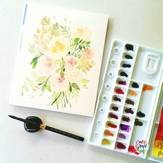 Trying to mute my most bright watercolors. It's kinda hard if your colors are super saturated, need to add more water and mix them carefully to achieve the muted look. #calligrafikas #grafikas #dreweuropeo #illustration #watercolor #grafikaflora #botanicalwatercolor Paper: Canson Montval 300gsm Paint: Mission Gold & Shin Han PWC w/c Brush: Silver Brush Black Velvet Voyage round no 8