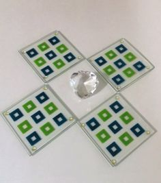Retro Square Glass Coasters, Vintage Coasters, Geometric, Green Coasters, Tic Tac Toe, Glass Coasters, Barware, Coasters, Modern Design by MillysAtticTreasures on Etsy