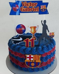 Pastel Del Barcelona, Bolo Do Barcelona, Barcelona Party, Football Birthday Cake, Minion Birthday, Cake Cookies, Birthdays, Desserts, Cakes