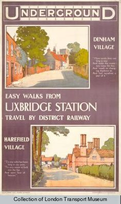 "London Underground poster ""Easy Walks from Uxbridge Station"", by John Henry Lloyd, Posters Uk, Train Posters, Railway Posters, Retro Posters, London Transport Museum, Public Transport, London Poster, London Art, London Underground"
