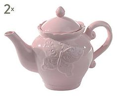 Set di 2 teiere in ceramica Stephanie rosa - 14x20 cm