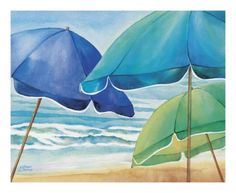 Seaside Umbrellas Print