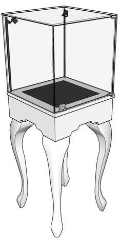 Queen Anne Half Vision Pedestal Retail Display Case - White Glass on Glass Retail Display Cases, Window Display Retail, Glass Display Case, Retail Displays, Shop Displays, Jewelry Store Displays, Jewellery Shop Design, Jewellery Display, Jewelry Shop