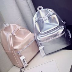 [Visit to Buy] Ladies Leather Silver Backpack Women Bag Glossy Solid 2017 New Backpacks for Teenage Girls Escolar Mochila Masculina Fashion Hot Backpack Purse, Mini Backpack, Travel Backpack, Canvas Backpack, My Bags, Purses And Bags, Fashion Bags, Fashion Backpack, Style Fashion