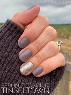 Shiny gray manicure with a sparkly silver glitter accent! Or create whatever you want on your nails with Color Street! This is Berlin it to Win It with an accent of Tinseltown. Create your own custom DIY manicure in minutes! Gray Nails, White Nails, Glitter Nails, Silver Glitter, Manicure Diy, Manicure Colors, Gel Nail Colors, Manicure Ideas, Nail Ideas