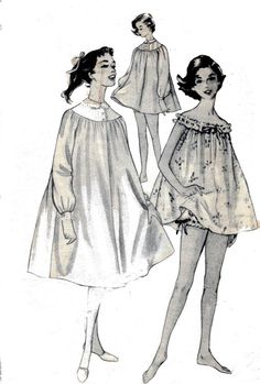 50s Vintage Sewing Pattern Night Gown and by allthepreciousthings,