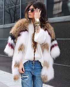 Fur Coat // White Shirt // Boyfriend Jeans