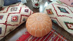 Your place to buy and sell all things handmade Moroccan Leather Pouf, Moroccan Pouf, Moroccan Style, Ottoman Slipcover, Slipcovers, Round Ottoman, Leather Ottoman, Bohemian Decor, Small Gifts