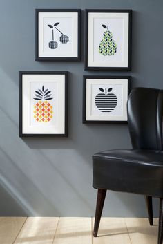 Contemporary Fruit Cross Stitch Kits (Set Of 4)