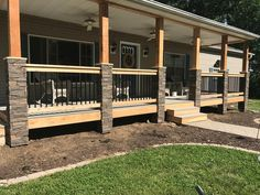 porch columns front porch pillars by laci genstone Front Porch Pillars, Front Porch Posts, Front Porch Railings, Front Yard Decor, Front Porch Design, Fence Design, Mobile Home Porch, Mobile Home Exteriors, Mobile Homes