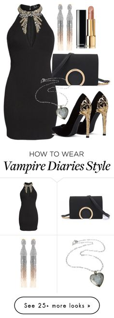 """""""Elena Inspired Party Outfit - The Vampire Diaries / The Originals"""" by fangsandfashion on Polyvore featuring LULUS, Oscar de la Renta and Chanel"""