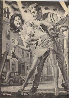 Pulp Fiction Art, Pulp Art, Gravure Illustration, Illustration Art, Vintage Comics, Vintage Art, 60s Art, Adventure Magazine, Figure Sketching