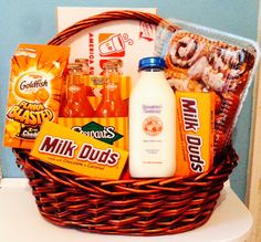 Milk duds, gold fish, Stewart's orange soda, milk,cinnamon rolls, and so much more! Customize gift baskets with their favorite snacks!