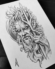Zeus Tattoo, Posseidon Tattoo, Hades Tattoo, Norse Tattoo, Viking Tattoos, Trident Tattoo, Warrior Tattoos, Armor Tattoo, Samoan Tattoo