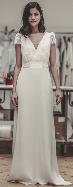 laure de sagazan 2017 bridal short puff sleeves v neck surplice heavily embelished lace bodice elegant column wedding dress open v back sweep train (bukowski) mv -- Laure de Sagazan 2017 Wedding Dresses