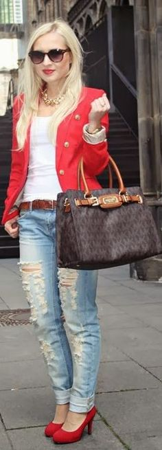 #red #blazer & #boyfriend #jeans by Say Me Justine