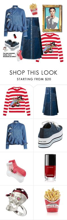 """""""City Pirate"""" by juliabachmann ❤ liked on Polyvore featuring Gucci, McQ by Alexander McQueen, Marques'Almeida, MICHAEL Michael Kors, Black Pearl, Kate Spade, Chanel, Deakin & Francis and Judith Leiber"""