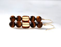 14K gold filled tiger eye and Czech glass by KarmaKittyJewelry