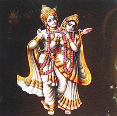 Radha Playing Flute with Krishna - Hindu Posters (Reprint on Card Paper - Unframed) Radha Krishna Photo, Radha Krishna Love, Krishna Photos, Radhe Krishna, Lord Krishna, Lord Shiva, Indian Art Paintings, Hindu Deities, God Pictures