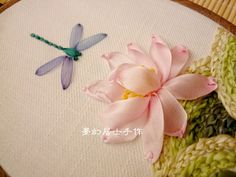 Sillk Ribbon Embroidery--Water Lily and Dragonfly蜻蜓点荷花
