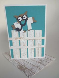 """Dr. Owl  by Alison Aiken (ON, Canada), A good luck card before a medical residency test!  Hand cut the stethoscope and used the 1"""" square punch with some cutting & folding to make the lab coat. There's no good reason that the owl is on a fence, other than the fact that I really like the hardwood stamp!  Colours: bermuda bay, baked brown sugar Punches: owl, 1"""" square"""