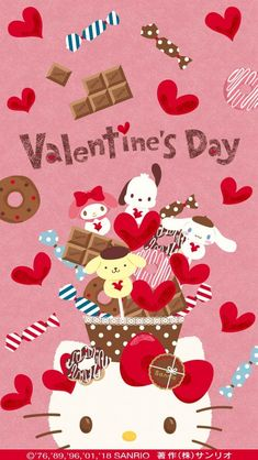 Happy Valentines Day may you girls friend-zone or date the guy you give a specific chocolate too 😅 Hello Kitty Art, Hello Kitty My Melody, Hello Kitty Themes, Hello Kitty Images, Kitty Cam, Sanrio Wallpaper, Hello Kitty Wallpaper, Kawaii Wallpaper, Iphone Wallpaper