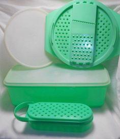 Vintage Jadeite Green Tupperware Lot Shredder Bowl Crisp It Celery Crisper