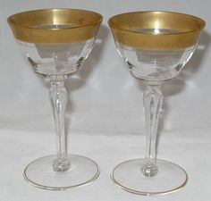 Two Tiffin Glass Gold Encrusted Rambler Rose Liquor Cocktails from mfmemories on Ruby Lane