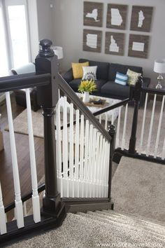 DIY: How to Stain and Paint an OAK Banister, Spindles, and Newel Posts (the shortcut method.no sanding needed! Painted Banister, Wood Railings For Stairs, Stair Banister, Banisters, Banister Ideas, Painted Staircases, Black Stair Railing, Black Stairs, Paint Stained Wood