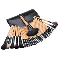 17.19$  Buy now - Professional 32pcs Makeup Brushes Cosmetic Make Up Powder Foundation Brush Set Cosmetics Tools With Leather Bag Beauty Tool 2016  #bestbuy