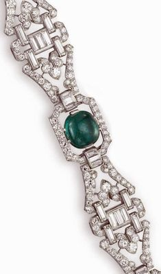 Detail: Art Deco diamond and emerald bracelet by J.E. Caldwell, circa 1930. Via Diamonds in the Library.