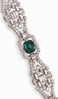 Detail: Art Deco diamond and emerald bracelet by J.E. Caldwell, circa 1930. Via Diamonds in the Library.