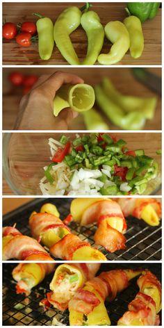 Cheese Stuffed Banana Peppers - do again -  original recipe: http://www.myrecipes.com/recipe/stuffed-banana-peppers-0