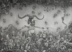 Little Daimon | graphite and ink on Canvas | cm 50x80 | 2012 | #Art #Surreal #Neo Pop #Arte