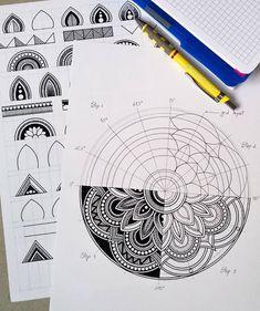 Mandala Art Lesson, Mandala Artwork, Mandala Painting, Mandala Drawing, Doodle Art Drawing, Zentangle Drawings, Zentangle Patterns, Art Drawings, Zentangles