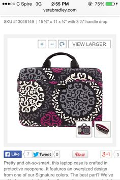 Vera Bradley Neoprene Laptop Case in Canterberry Magenta SKU  13048149  0720752a2b0f8